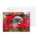 Shih Tzu Christmas Poinsettia Audrey Greeting Card