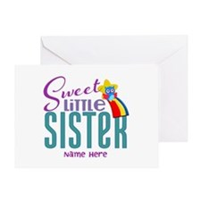 Personalized Name Sweet Little Sister Greeting Car
