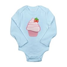 Pink Cupcake With Strawberry Body Suit
