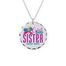 Personalized Big Sister Necklace Circle Charm