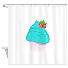 Blue Cupcake With Strawberry Shower Curtain