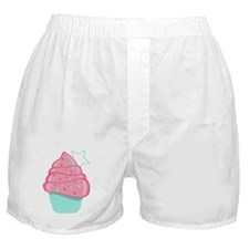 Pink Cupcake With Star Boxer Shorts