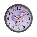Purple Unicorrn Wall Clock