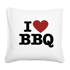 I heart BBQ Square Canvas Pillow