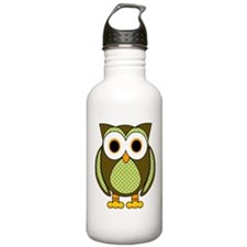 Retro Pattern Owl Green and Brown Water Bottle