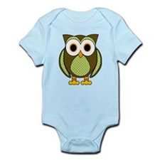 Retro Pattern Owl Green and Brown Body Suit