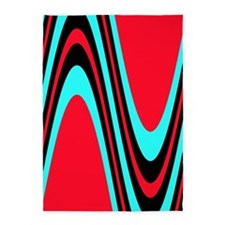 Funky Red Black Turquoise Treat 5'x7' Area Rug