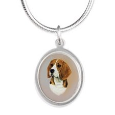 Beagle Silver Oval Necklace