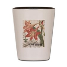 modern vintage winter garden amaryllis Shot Glass