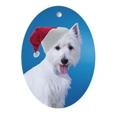 Santa Westie Ornament (Oval)