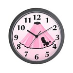 Pink Poodle Skirt Wall Clock