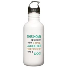 Love Laughter Friendship Dog Water Bottle