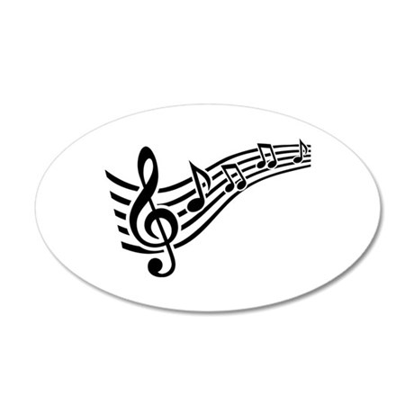 Clef musical notes 35x21 Oval Wall Decal
