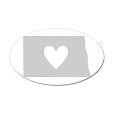 Heart North Dakota 35x21 Oval Wall Decal