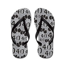 GREY BLACK 40 years old - 40th Birthday Flip Flops