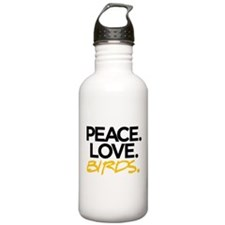 Peace. Love. Birds. (Black and Yellow) Water Bottl