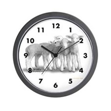 Whisper Lambs Numbered Wall Clock