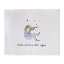 Personalized Music Frog Throw Blanket