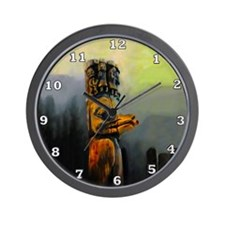 Raven Totem Pole Wall Clock