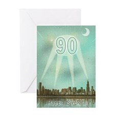 90th birthday spotlights over the city Greeting Ca