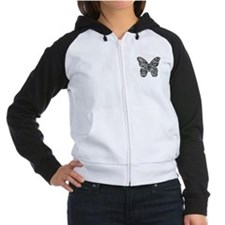 Black Zebra Stripes Butterfly Women's Raglan Hoodi