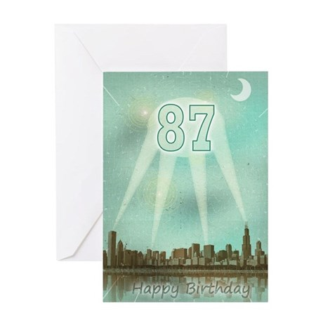 87th birthday spotlights over the city Greeting Ca