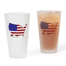 US Flag Map Drinking Glass