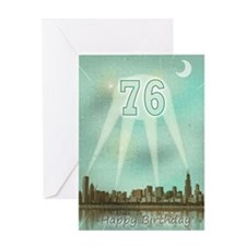 76th birthday spotlights over the city Greeting Ca