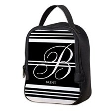 Black and White Stripe Monogram Neoprene Lunch Bag