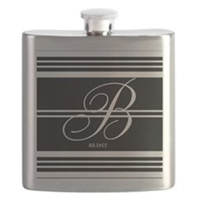 Black and White Stripe Monogram Flask