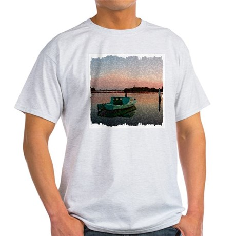 Sunset Boat Ash Grey T-Shirt