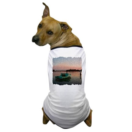 Sunset Boat Dog T-Shirt