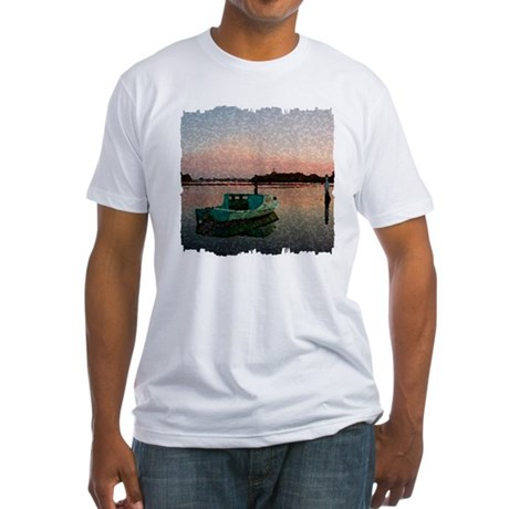 Sunset Boat Fitted T-Shirt