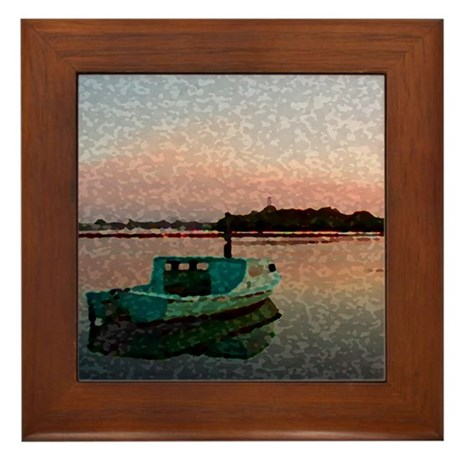 Sunset Boat Framed Tile