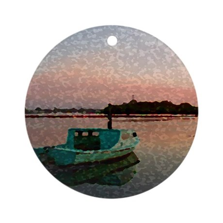 Sunset Boat Ornament (Round)