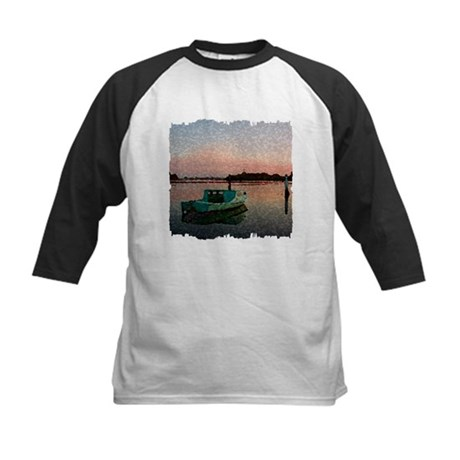 Sunset Boat Kids Baseball Jersey