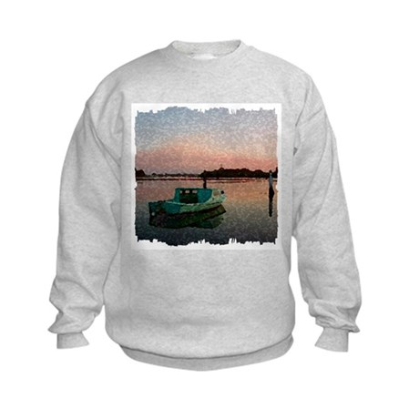 Sunset Boat Kids Sweatshirt