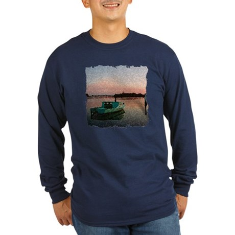 Sunset Boat Long Sleeve Dark T-Shirt
