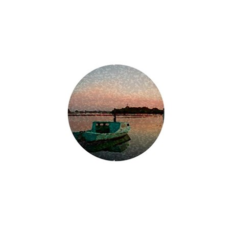 Sunset Boat Mini Button
