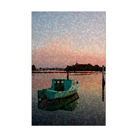 Sunset Boat Mini Poster Print