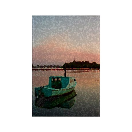 Sunset Boat Rectangle Magnet (10 pack)