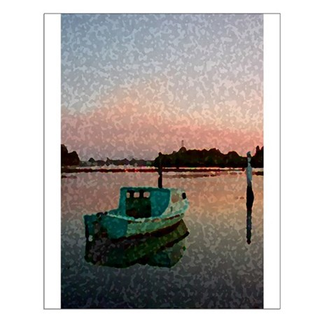 Sunset Boat Small Poster