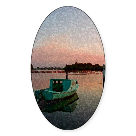 Sunset Boat Oval Sticker