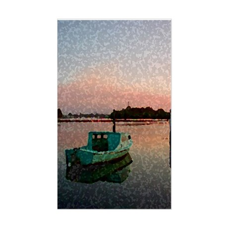 Sunset Boat Rectangle Sticker