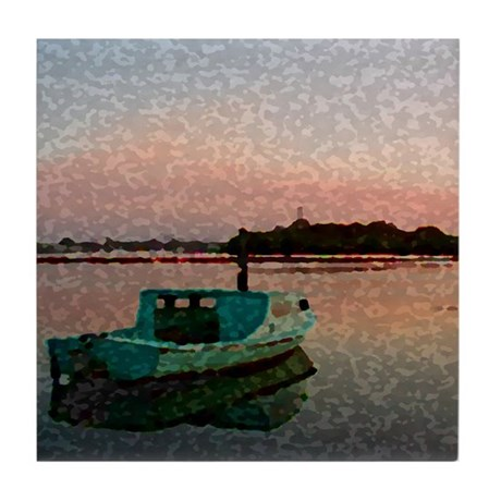 Sunset Boat Tile Coaster