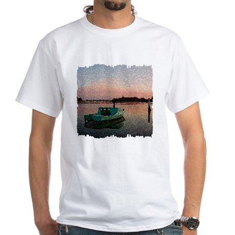 Sunset Boat White T-Shirt