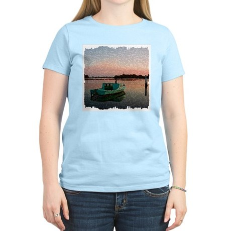 Sunset Boat Women's Pink T-Shirt