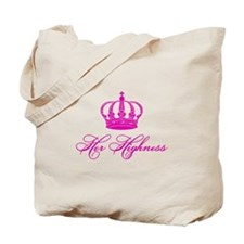 Her Highness text design with an old crown Tote Ba
