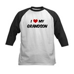 I Love My Grandson Kids Baseball Jersey