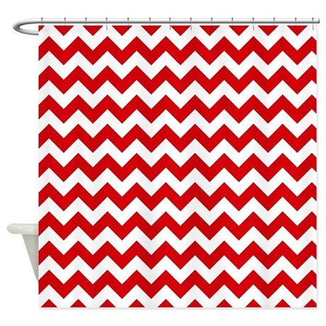 Red And White Chevron Pattern Shower Curtain By Accessorizeme